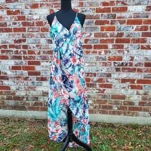 PPLA Clothing Wrap Hi-Low Floral Dress Sz S